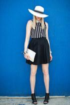 white black and white Walmart hat - black full Mossimo skirt - black vintage blo