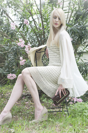 cream crochet vintage dress - cream vintage jacket