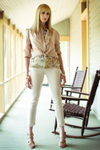 light pink skinny Tommy Hilfiger jeans - cream sequined vintage shirt - tan ruff