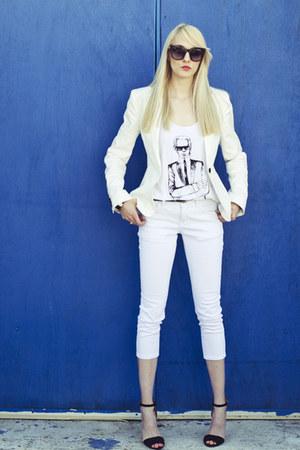 white Forever21 blazer - white tank Karl Lagerfeld t-shirt - black Zara heels