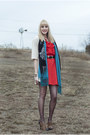 Red-ruffled-vintage-dress-teal-pashmina-unknown-scarf-eggshell-unknown-cardi