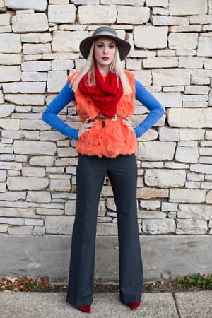 carrot orange fur vintage vest - charcoal gray flare Victorias Secret pants