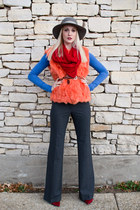 carrot orange fur vintage vest - charcoal gray flare Victorias Secret pants