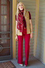 Red-flare-victorias-secret-pants-brick-red-cherry-blossom-vintage-scarf