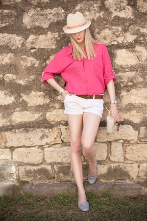 hot pink Victorias Secret shirt - white Ruehl shorts - periwinkle etienne aigner