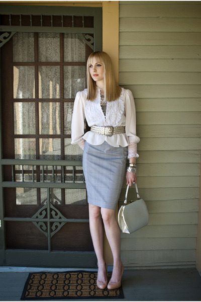 silver structured vintage bag - heather gray pencil Express skirt - silver peplu