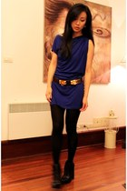 dark brown Hermes belt - navy Alexander Wang boots - blue bordeau dress