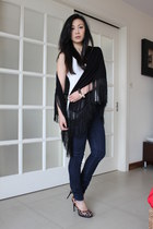 navy Rich&Skinny jeans - black fringed H&M scarf - white Alexander Wang top