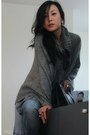 Black-255-jumbo-chanel-bag-heather-gray-knit-poncho-h-m-cape