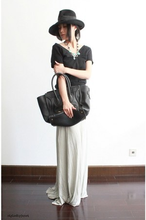black mini luggage Celine bag - heather gray fishtail jersey Rick Owens skirt