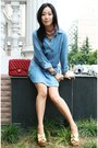 Periwinkle-denim-tunic-zara-dress-brick-red-255-jumbo-chanel-bag