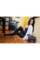 dark brown Hermes bag - white Club Monaco cardigan - camel Modern Vintage sandal