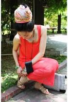 bronze house of harlow sandals - coral mesh C Studio dress
