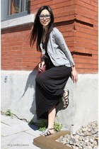 black maxi H&M dress - silver silk Ella Moss jacket - crimson daria Alexander Wa