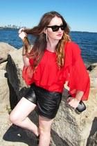 red Sugarlips blouse - black Tart shorts - Celine sunglasses