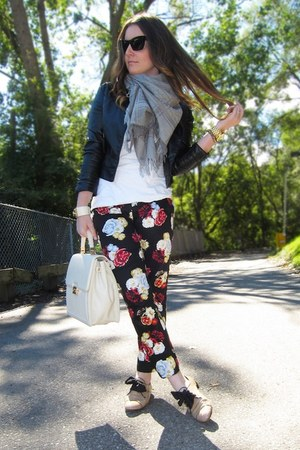 black H&M pants - neutral Prada shoes - heather gray Gucci scarf