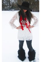 white Topshop dress - black H&M leggings - red Amrita Singh scarf