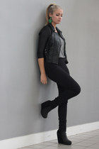 black Zara top - black Nelly wedges - black H&M vest - black H&M pants