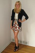 black Forever 21 shoes - black thrifted jacket - red floral Forever 21 skirt