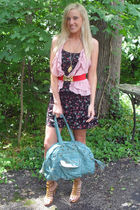 black american eagle outfitters dress - blue Arden B purse - beige GoJane shoes