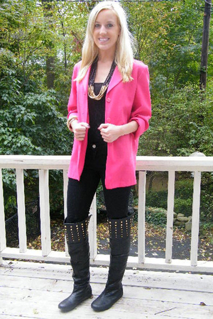 thrifted jacket - Forever 21 top - Forever 21 jeans - yard sale necklace - twist