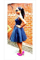 navy own design dress - hot pink high heels Kurt Geiger heels - black shades vin