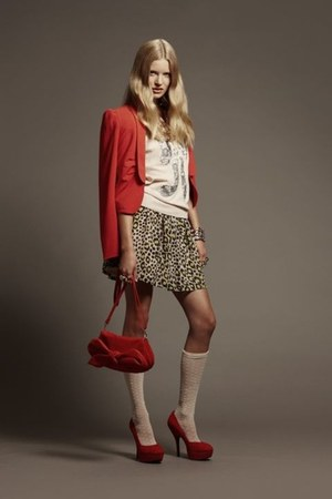 red bag H&M bag - white top H&M blouse - animal print H&M skirt - red cardi H&M