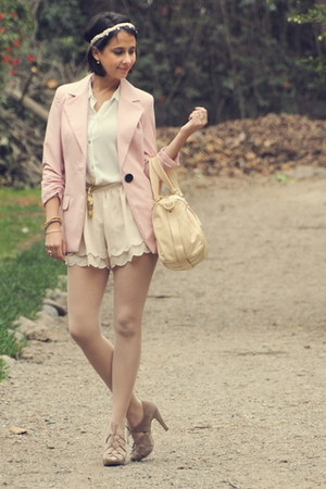 H&M shorts - pale pink Bohem blazer - leather Marc by Marc Jacobs bag