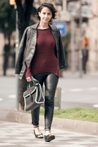studded Forever 21 jacket - knitted AX Paris sweater - leather Zara pants