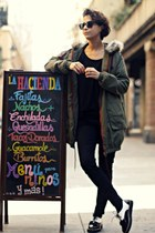 militar Zara coat - creepers asos shoes - H&M shirt - Zara pants