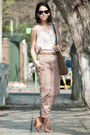 Suede-zara-bag-peep-toe-catu-shoes-heels-h-m-belt-salmon-zara-pants