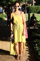 lime green chiffon AX Paris dress - yellow Zara sandals - eggshell H&M glasses