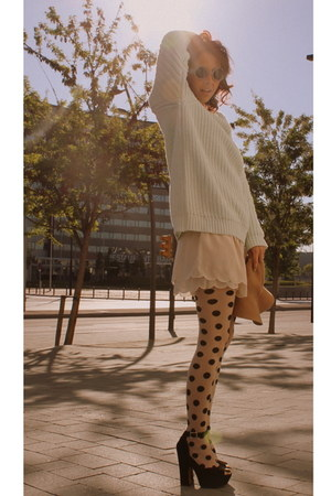 polka dots H&M tights - floppy hat H&M hat - knit mint H&M sweater