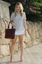 sky blue Zara blouse - maroon Nine West bag - white denim shorts Zara shorts