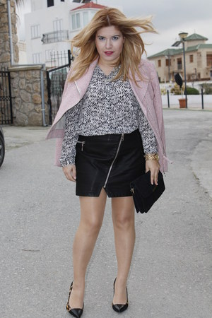 black leather look River Island skirt - light pink tweed Mango jacket