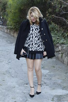 black leopard print Mango sweater - black leather Zara skirt