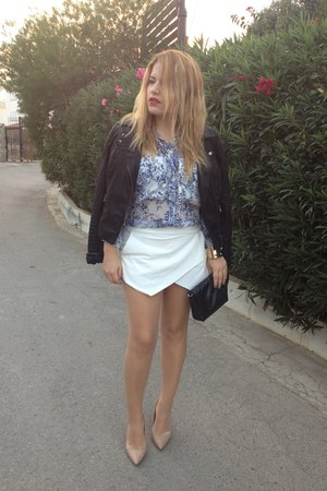 black leather look Primark jacket - blue chiffon Zara shirt - white Zara skirt