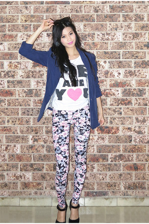 floral Dotti leggings - blue H&M blazer - brown Ray Ban sunglasses