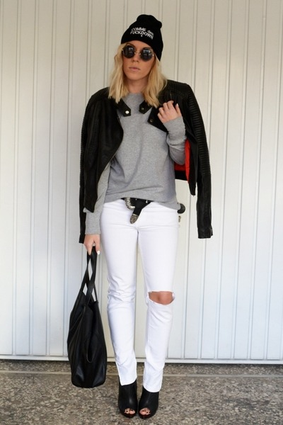white ripped Zara jeans - black moto Motel Rocks jacket - black H&M bag