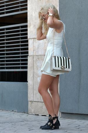 peplum jumpsuit Sheinside dress - buckled Choies boots - PERSUNMALL bag