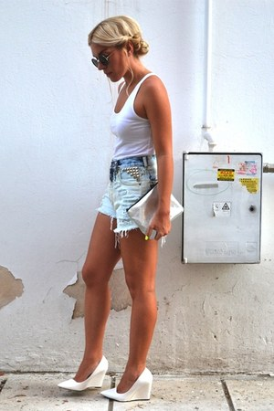 H&M purse - I Heart Shorts shorts - asos sunglasses - Mango wedges - H&M vest