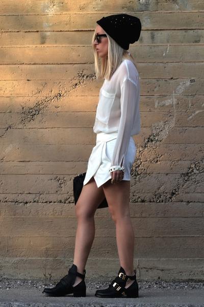 Zara skirt - Choies boots - asos hat - Zara shirt