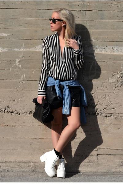 black striped Zara blouse - white OASAP boots - navy denim H&M shirt