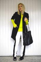 boyfriend H&M coat - neon Zara sweater - vivistyle bag - Wallis pants