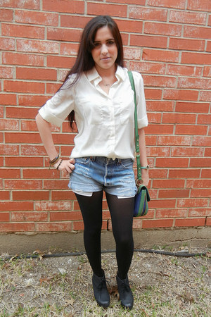 bag - wedge boots - white shirt