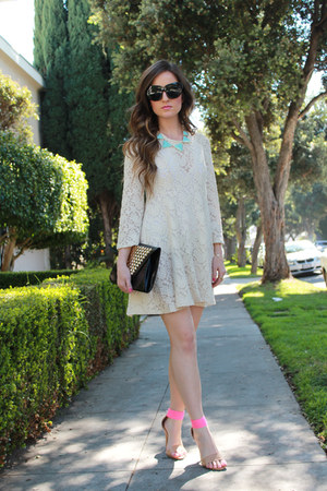 Audrey dress - pink strappy Forever21 heels - Kristin Perry accessories