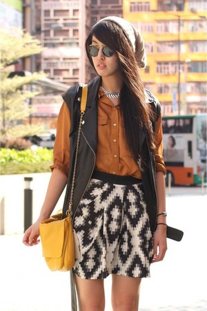 burnt orange Zara shirt - orange Zara bag - heather gray Zara skirt