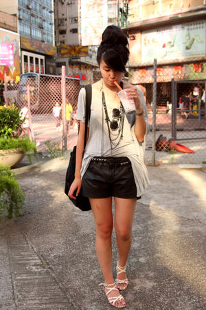 black Zara shorts - pink korea shoes - gray random from Hong Kong dress