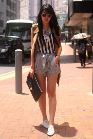 off white Zara shoes - bronze Hong Kong jacket - heather gray H&M shorts