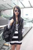 black A Land bag - gold random from Hong Kong hat - black H&M vest